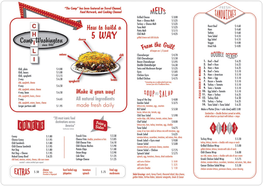 picture about Printable Chili's Menu named Camp Washington Chili Our Menu